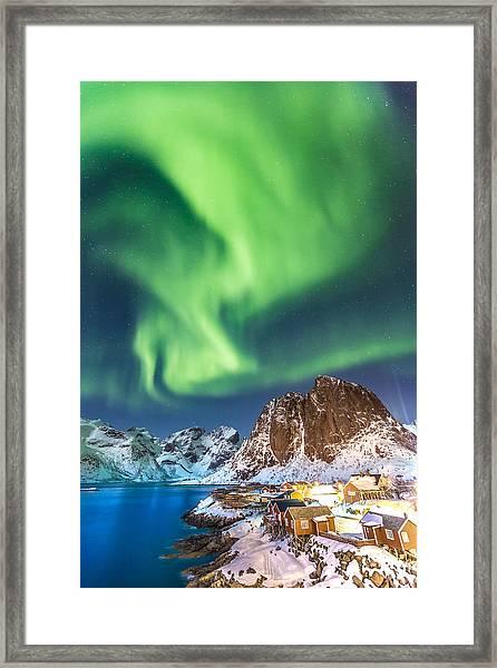 Northern Lights In Hamnoy Framed Print