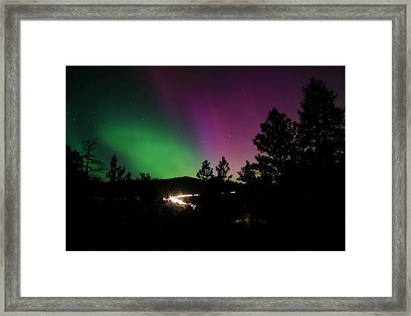 Northern Lights Over Storm Mountain Framed Print