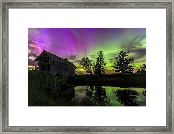Northern Lights Reflection Framed Print