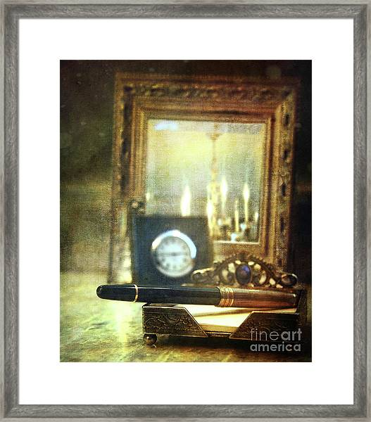 Nostalgic Still Life Of Writing Pen With Clock In Background Framed Print