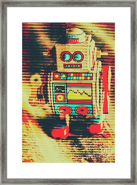 Nostalgic Tin Sign Robot Framed Print