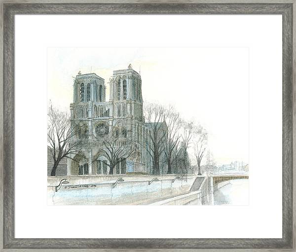 Framed Print featuring the painting Notre Dame Cathedral In March by Dominic White