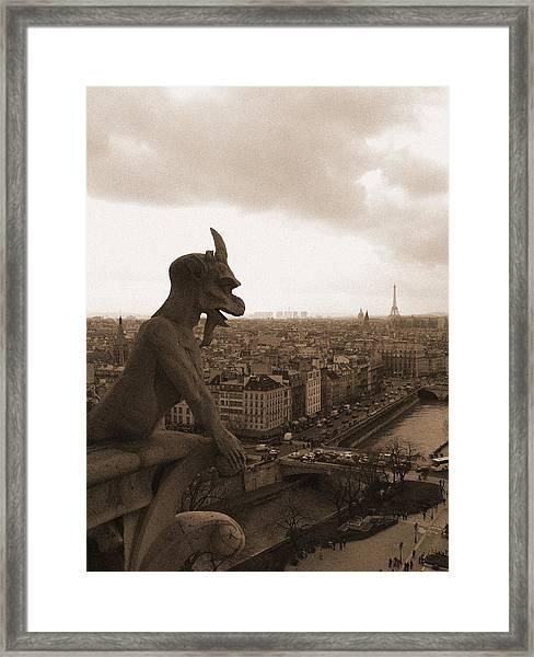 Notre Dame Gargoyle Over Paris Framed Print