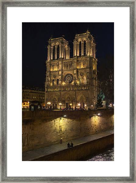 Notre Dame Night Painterly Framed Print