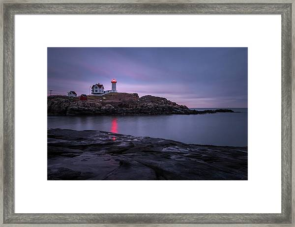 Nubble Light Blue Hour Framed Print