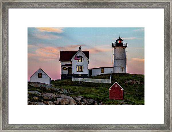 Nubble Lighthouse At Dusk  Framed Print