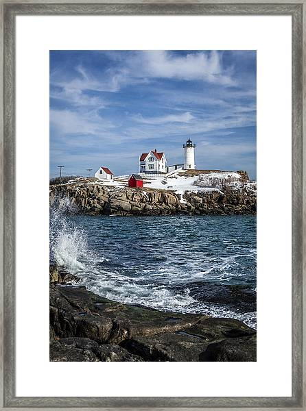 Nubble Lighthouse Winter Framed Print