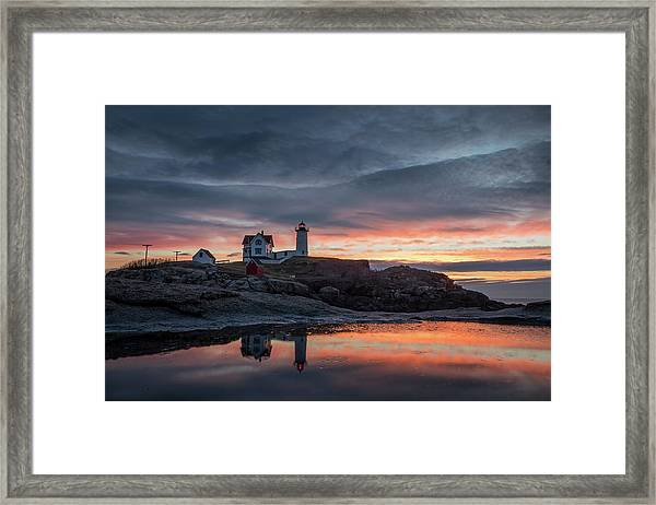 Nubble Sunrise Reflection Framed Print
