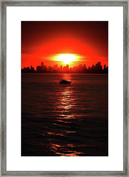 Nuclear Miami Sunset Framed Print