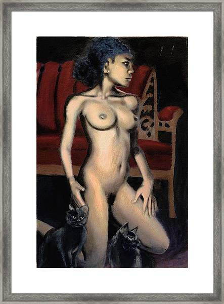 Framed Print featuring the painting Nude Female Woman Kneeling With Cats by G Linsenmayer