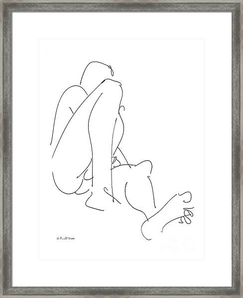 Nude-male-drawing-12 Framed Print