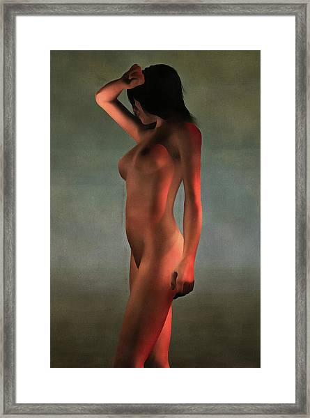 Framed Print featuring the painting Nude Standing by Jan Keteleer