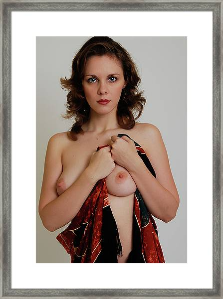 Nude With Sarong Framed Print