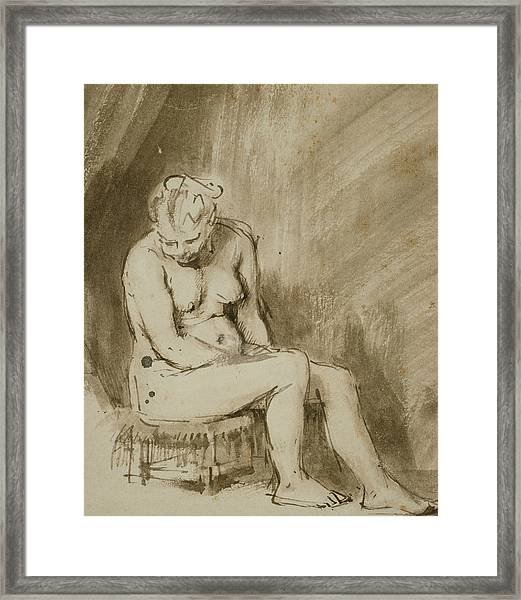 Nude Woman Seated On A Stool  Framed Print