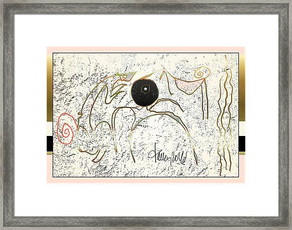 Framed Print featuring the painting Nuprimitive Cave Painting - One by Larry Talley