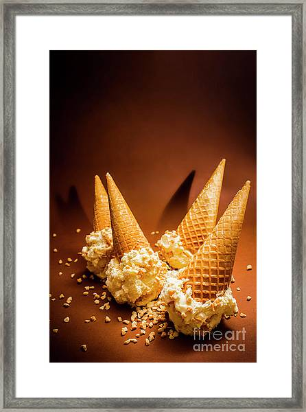 Nuts Over Ice-cream. Birthday Party Background Framed Print