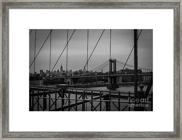 Ny Skyline From Brooklyn Bridge Framed Print