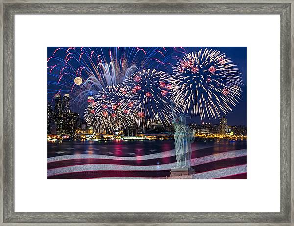 Framed Print featuring the photograph Nyc Fourth Of July Celebration by Susan Candelario