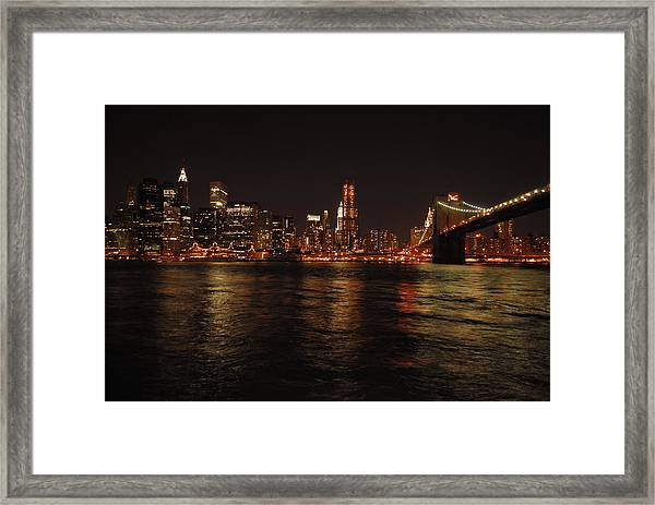 Nyc Night Framed Print by Maria Lopez