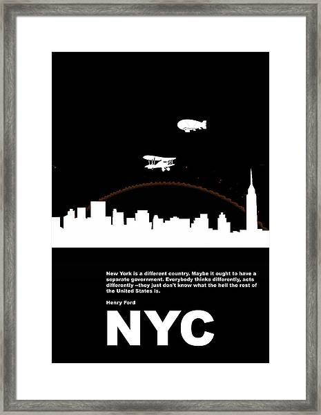 Nyc Night Poster Framed Print