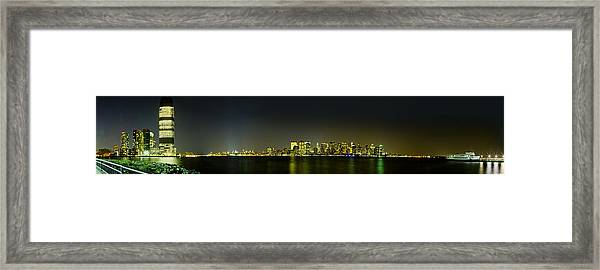 Nyc Night Skyline Panorama 1 Framed Print