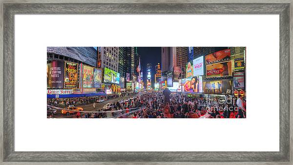 Nyc Times Square Panorama Framed Print