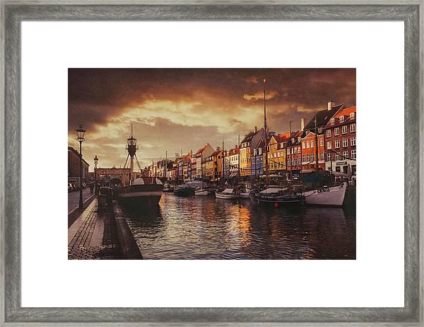 Nyhavn Sunset Copenhagen Framed Print
