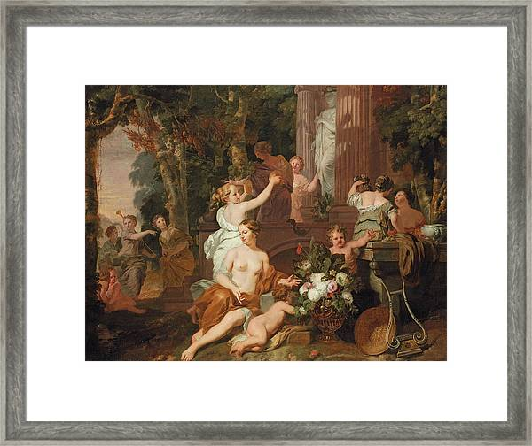 Nymphs And Bacchantes Paying Homage At The Temple Of Flora  Framed Print