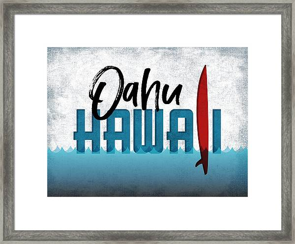 Oahu Red Surfboard Framed Print