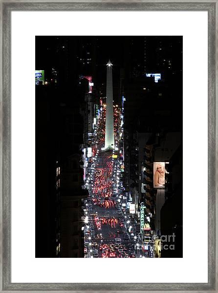 Obelisk At Night Framed Print