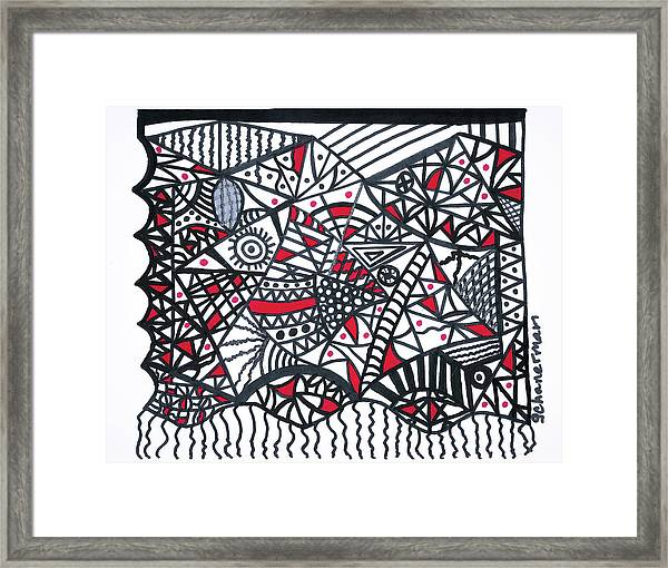 Objective Contrast With Red And Silver Framed Print
