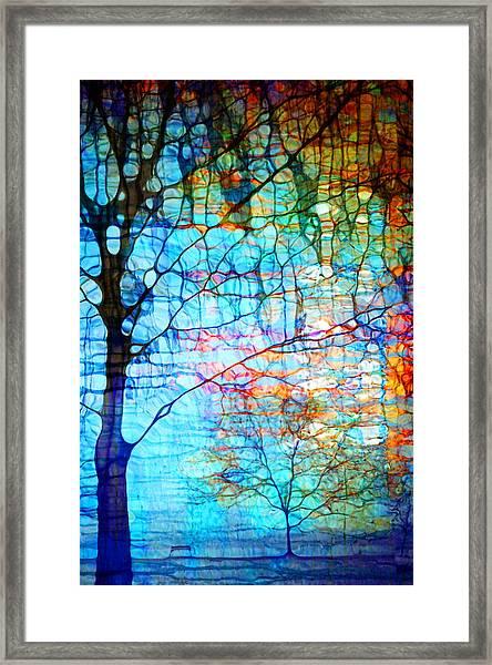 Obscured In Blue Framed Print