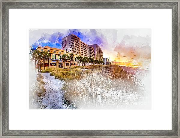 Ocean Drive Sunrise Watercolor Framed Print