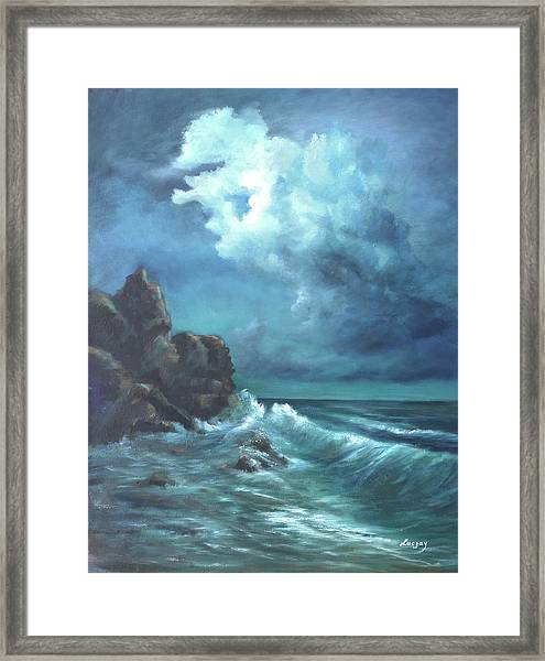 Seascape And Moonlight An Ocean Scene Framed Print