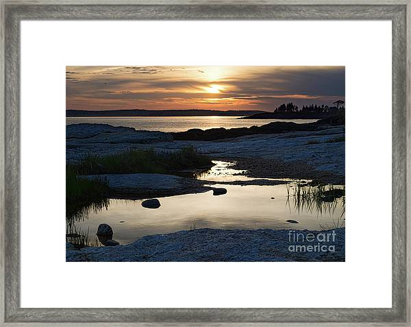 Ocean Point Sunset In East Boothbay Maine  -23091-23093 Framed Print
