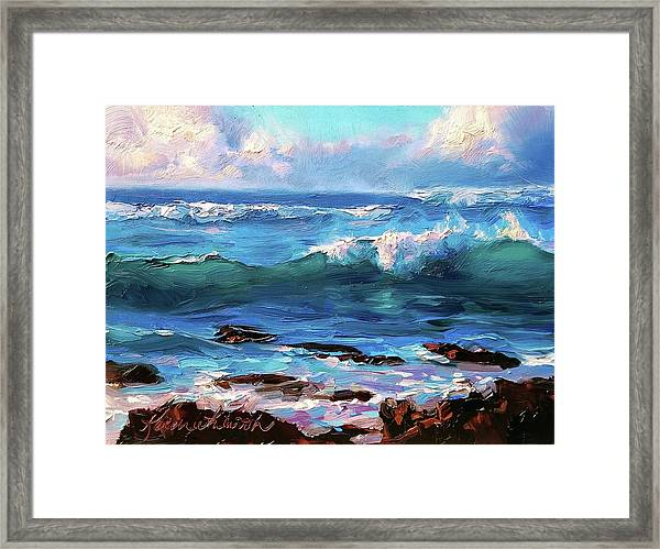 Coastal Ocean Sunset At Turtle Bay, Oahu Hawaii Beach Seascape Framed Print