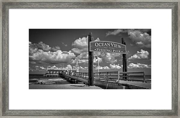 Framed Print featuring the photograph Ocean View Fishing Pier by Williams-Cairns Photography LLC