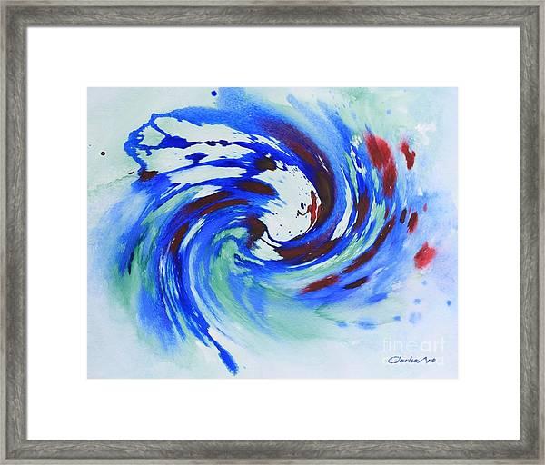 Ocean Wave Watercolor Framed Print