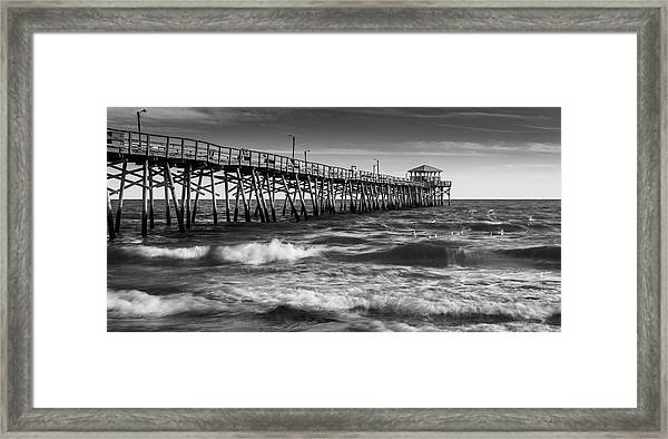 Framed Print featuring the photograph Oceana Ocean Crest Fishing Pier In Nc Panorama In Bw by Ranjay Mitra