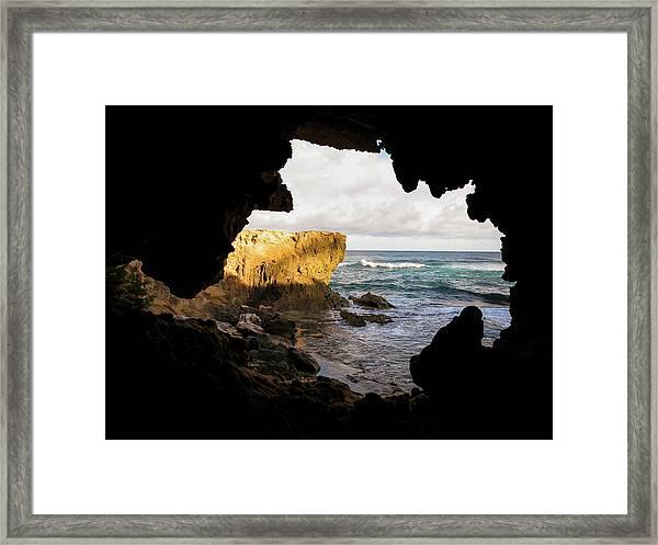 Oceanfront Cave Framed Print