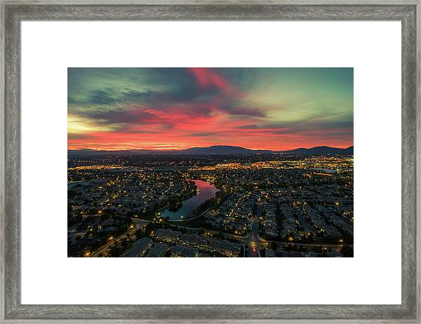 October Sunrise Harveston Lake Temecula Framed Print