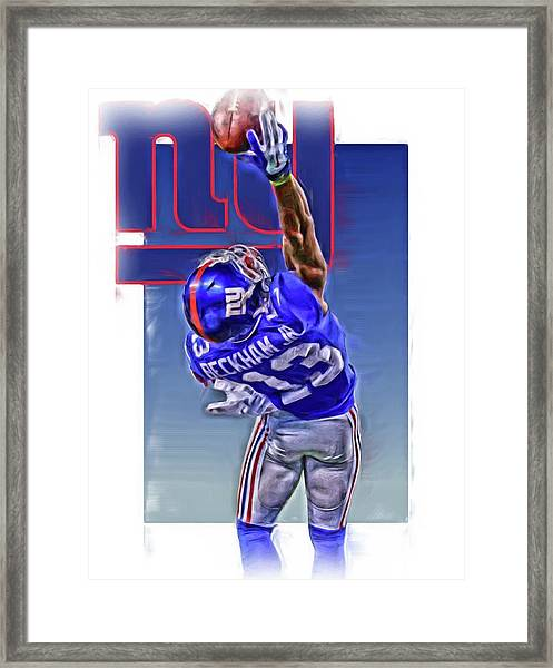 Odell Beckham Jr New York Giants Oil Art 2 Framed Print