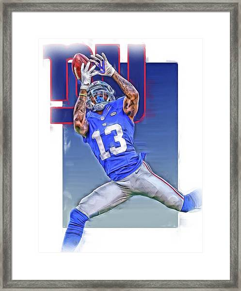 Odell Beckham Jr New York Giants Oil Art Framed Print