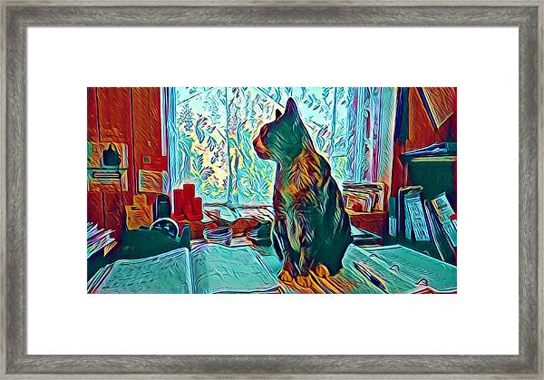 Office Cat Framed Print