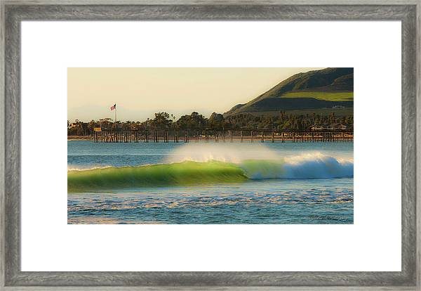 Offshore Wind Wave And Ventura, Ca Pier Framed Print