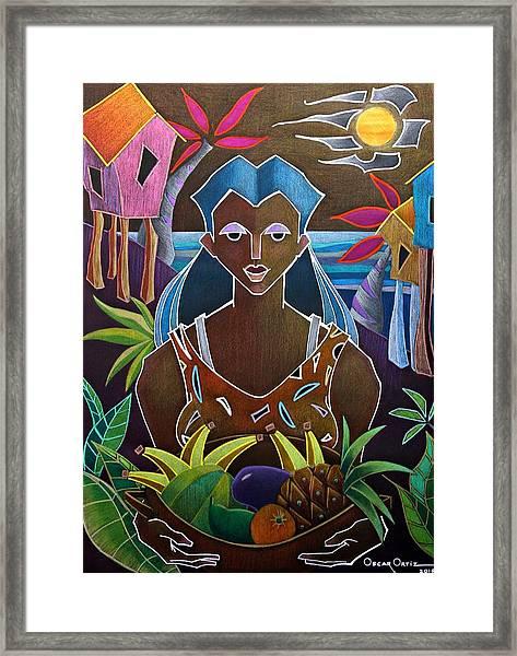 Framed Print featuring the painting Ofrendas De Mi Tierra II by Oscar Ortiz