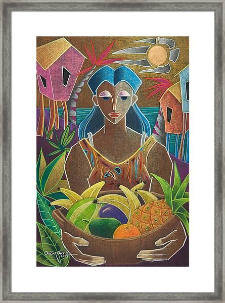Framed Print featuring the painting Ofrendas De Mi Tierra by Oscar Ortiz