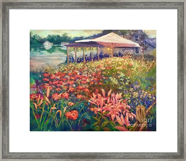 Ogunquit Gardens At Waterside Restaurant Framed Print