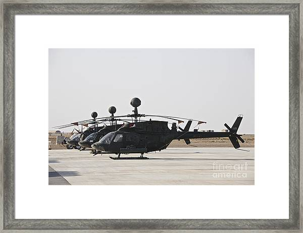 Oh-58d Kiowa Helicopters On The Flight Framed Print