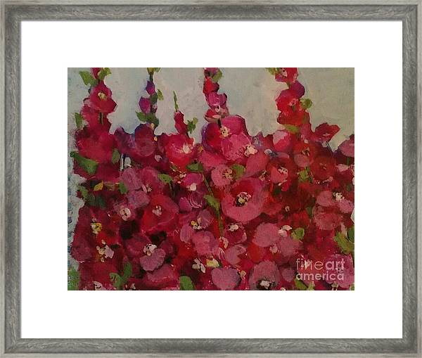 Oh My Hollyhocks Framed Print
